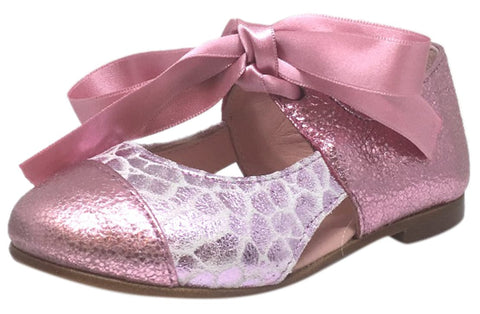 Chupetin Girl's 9371 Silver Pink Shimmer Sparkle Patent Leather Slip On Ballerina Ballet Flats