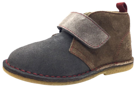 Naturino Boy's Grey & Brown Smooth Suede Two Tone Classic Thick Single Hook and Loop Chukka Boot