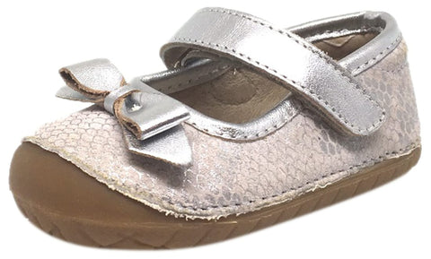 Old Soles Girl's Pave Gabs Jane Python Silver Leather Hook and Loop Bow Mary Jane Walking Shoe