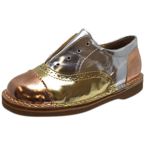 Papanatas by Eli Girl's Silver and Gold Metallic Slip On Oxford Loafer Shoes - Just Shoes for Kids  - 1