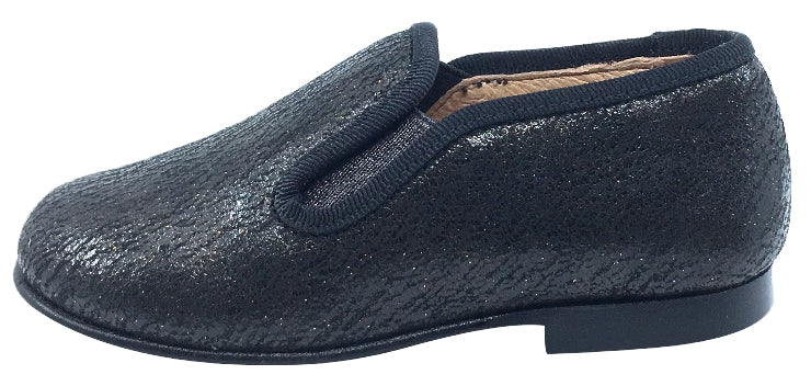 Hoo Shoes  Boy's and Girl's Smoking Loafer, Black Metallic