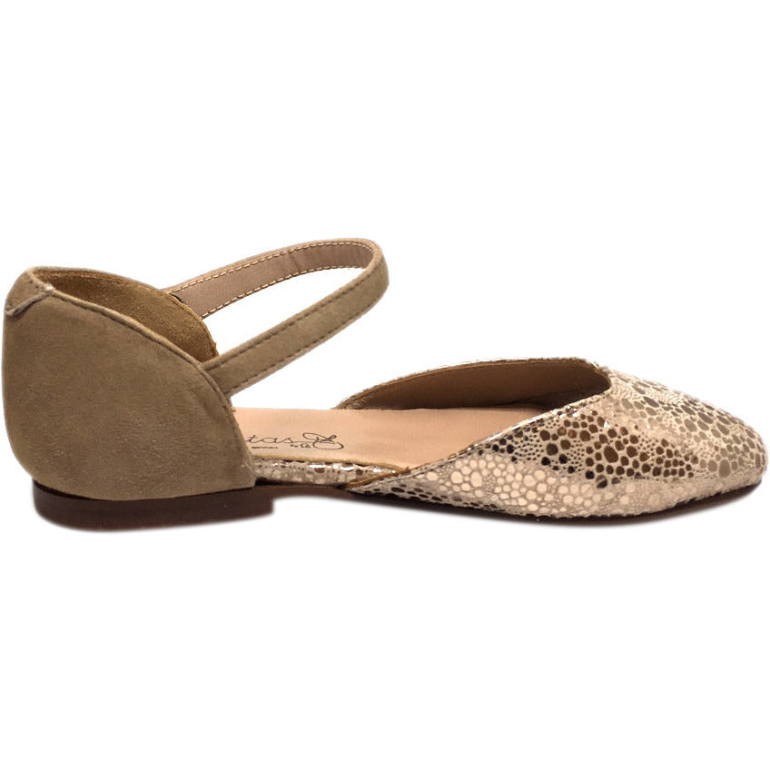 Papanatas by Eli Girl's Taupe Soft Suede Metallic Ankle Strap Ballet Flat Mary Jane - Just Shoes for Kids  - 5