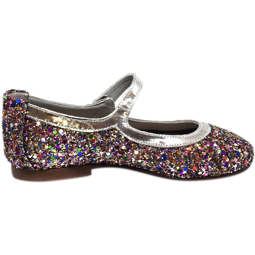 Papanatas by Eli Girl's Bright Silver Multi Glitter Mary Janes Button Flats - Just Shoes for Kids  - 5