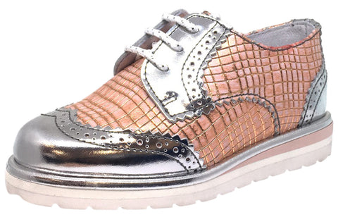 Hoo Shoes Girl's Chloe's Wing Tip Rose Gold Metallic Checkered Pattern Bright Lace Up Oxford Platform Shoes