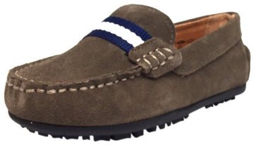 Umi Boy's Taupe Suede Leather Studded Fabric Racing Stripe Slip On Moccasin Loafer