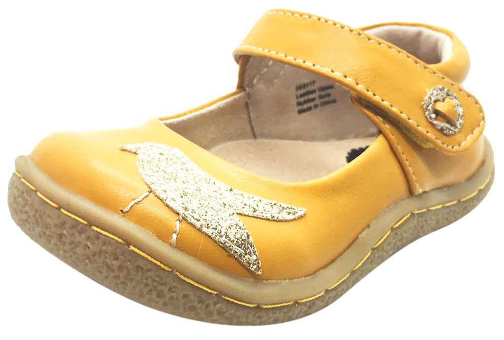 Livie & Luca Girl's Pio Pio Butterscotch Natural Leather Shimmer Dove Hook and Loop Mary Jane Shoes