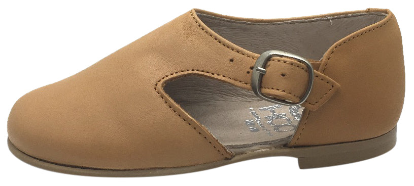 Hoo Shoes Girl's Tan Smooth Leather Single Strap Buckle with Side Cut-Out Oxford Shoes