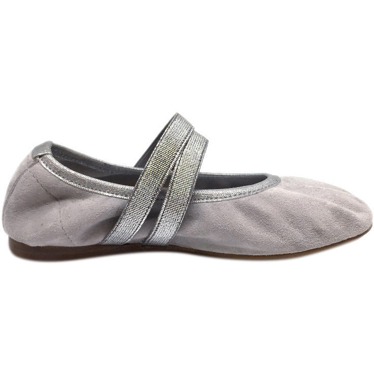 Papanatas by Eli Girl's Silver Grey Double Elastic Soft Suede Slip On Mary Jane Ballet Flats - Just Shoes for Kids  - 5