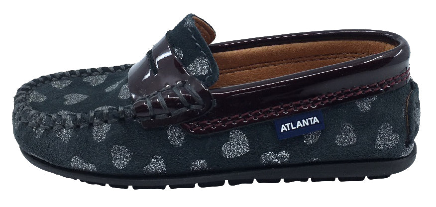 Atlanta Mocassin Girl's Suede and Patent Heart Print Penny Loafers, Grey Suede/Burgundy Patent