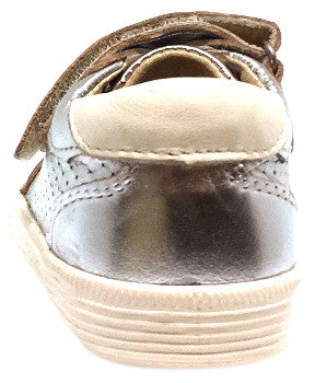 Old Soles Boy's and Girl's R-Racer Perforated Leather Double Hook and Loop Sneakers, Silver - Just Shoes for Kids  - 3