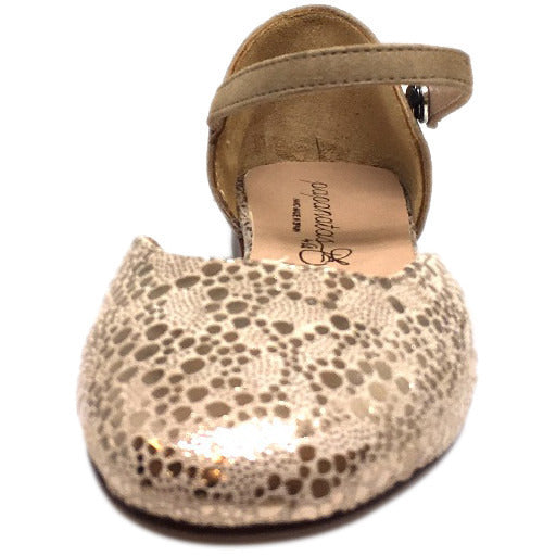 Papanatas by Eli Girl's Taupe Soft Suede Metallic Ankle Strap Ballet Flat Mary Jane - Just Shoes for Kids  - 3