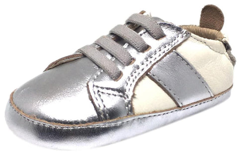 Old Soles Boy's and Girl's Silver White Leather Gig Shoe Stripe Elastic Lace Slip On Crib Walker Baby Shoe
