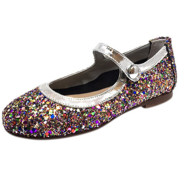 Papanatas by Eli Girl's Bright Silver Multi Glitter Mary Janes Button Flats - Just Shoes for Kids  - 1