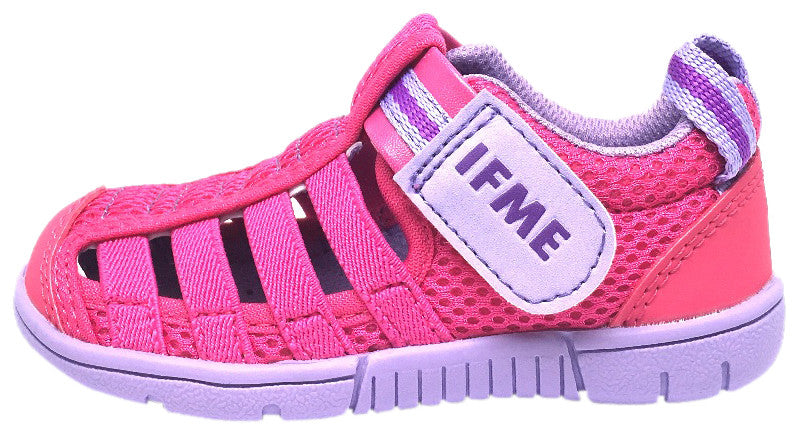 IFME Girl's Playa Venice Fuchsia Lavender Elastic Lace Mesh Hook and Loop Fisherman Style Sandal