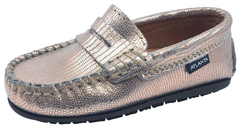 Atlanta Mocassin Girl's Rose Gold Printed Metallic Leather Slip On Moccasin Loafer Flat Shoe