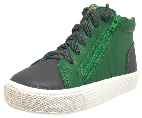 Old Soles Boy's and Girl's Green Leather Tri-Zip High Top Elastic Lace Up Zipper Slip On Sneaker