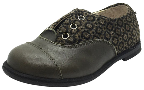 Manuela de Juan Boy's & Girl's Lucio Military Green Smooth and Suede Printed Leather Oxford Shoes