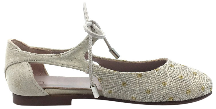 Papanatas by Eli Girl's Gold Polka Dot Beige Linen & Suede Lace Up Mary Jane Flats with Side Cutouts