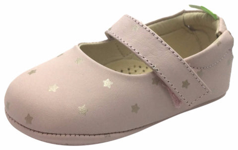 Tip Toey Joey Girl's Dolly Cotton Candy Pink Leather Hook and Loop Mary Jane Flat