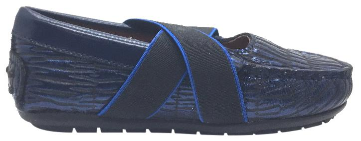 Venettini Girl's Daisy Cobalt Blue Cracked Embossed Leather with Criss-Cross Elastic Strap Moccasin Shoe