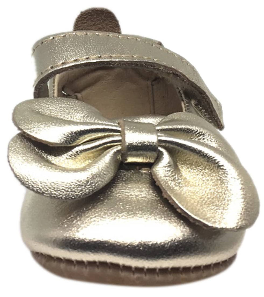 Old Soles Girl's Gold Leather Gab Bow Hook and Loop Mary Jane Crib Walker Baby Shoe