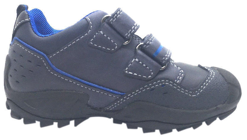 Geox Boy's Savage Navy Royal Blue Leather Double Hook and Loop Sporty Sole Low Top Sneaker