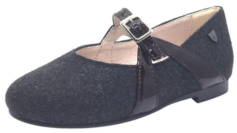Venettini Girl's Grey Flannel Wool with Burgundy Patent Leather Buckle Strap Mary Jane Dress Flats