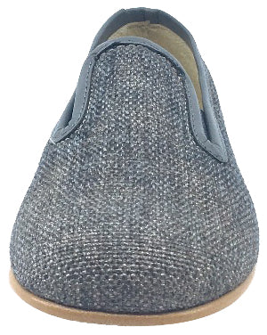 Luccini Boy's Grey Linen with Matching Leather Trim Smoking Loafer