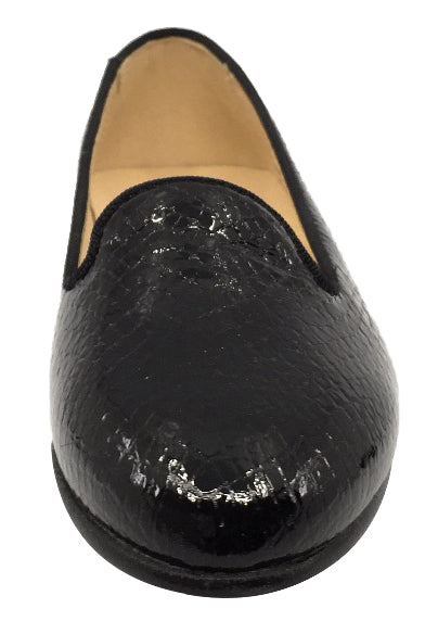 Andanines  Girl's Scalloped Ballet Flat, Black Pebble Patent
