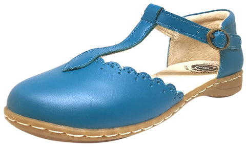 Livie & Luca Girl's Azure Blue Fresca Scalloped Leather Trim T-Strap Adjustable Buckle Mary Jane Flat Shoe