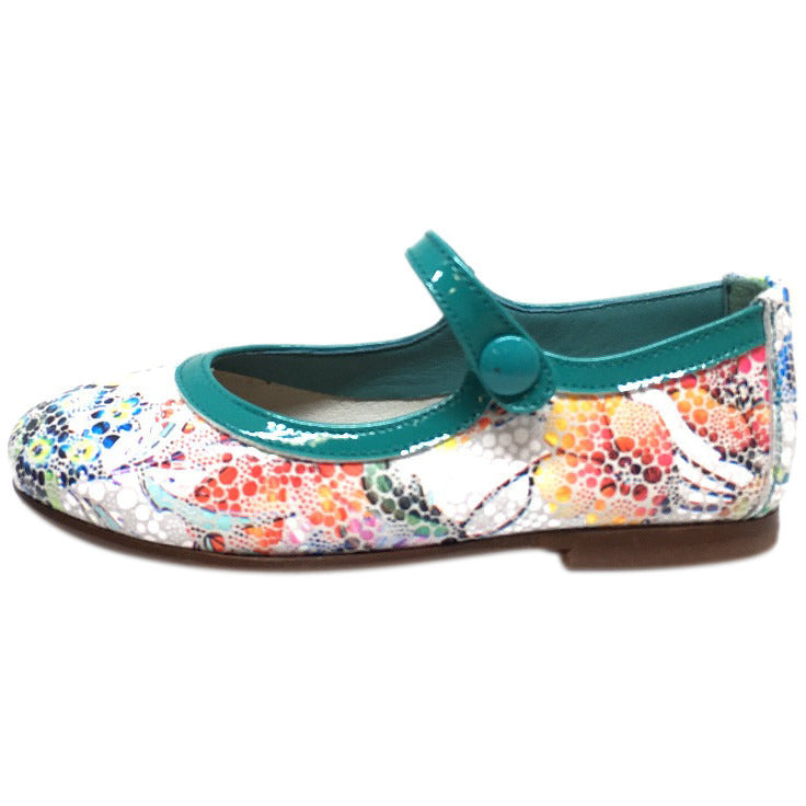 Papanatas by Eli Girl's Grey Teal Metallic Floral Print Mary Janes Button Flats - Just Shoes for Kids  - 2