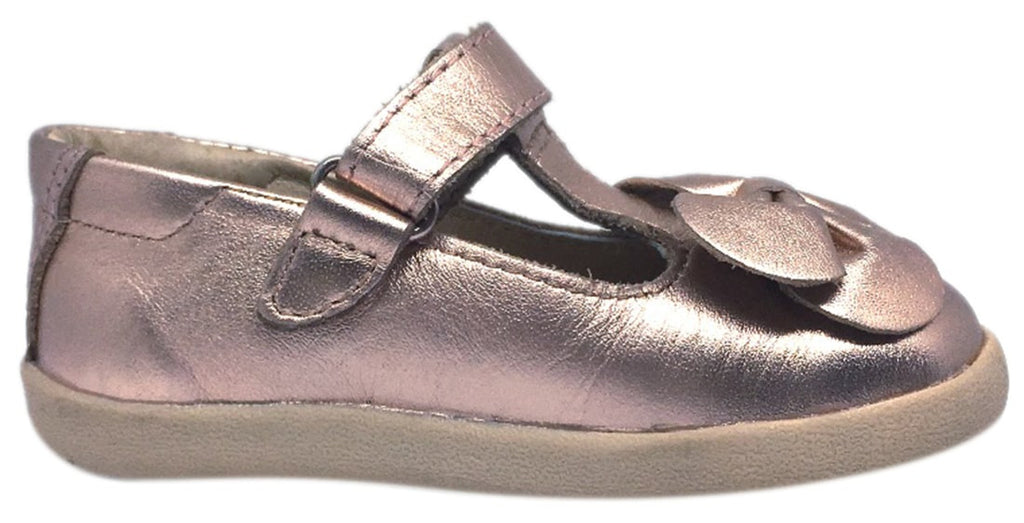 Old Soles Girl's T-Bow Copper Leather Hook and Loop T-Strap Floral Bow Mary Jane Flat Shoe