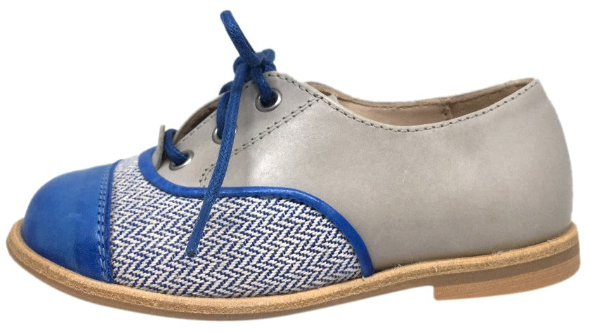 Manuela de Juan Boy's & Girl's Lucio Igloo Tequila Taupe Leather Slip On Laceless Oxford Shoe