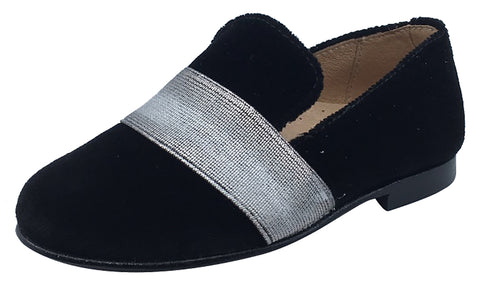 Hoo Shoes Boy's and Girl's Smoking Loafer Black with Silver Band