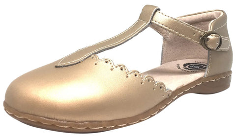 Livie & Luca Girl's Pearl Shimmer Fresca Scalloped Leather Trim T-Strap Adjustable Buckle Mary Jane Flat Shoe