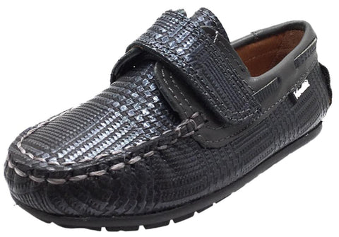 Venettini Boy's Two Tone Grey Square Print Leather Single Hook and Loop Strap Moccasin Loafer