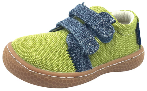 Livie & Luca Boy's Hayes Lime Green Natural Textile Casual Sneaker Shoes with Double Hook and Loop Straps