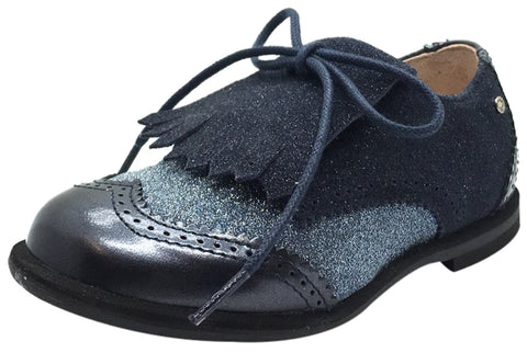 Manuela de Juan Boy's & Girl's Fringe Navy Blue Sparkle Tri-Color Leather Lace Up Oxford Shoes