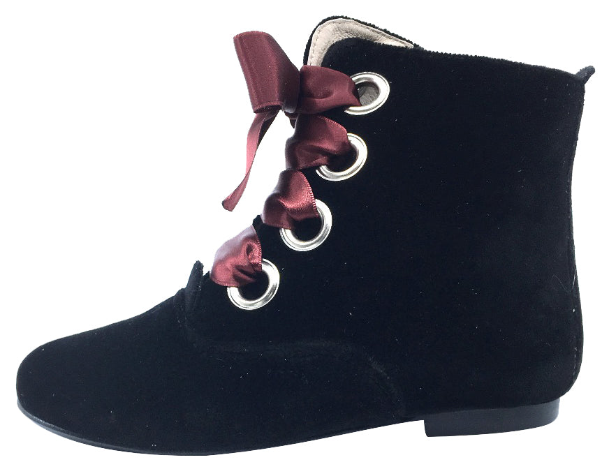 Hoo Shoes Girl's Ribbon Lace-Up Booties, Black Velvet with Burgundy Ribbon