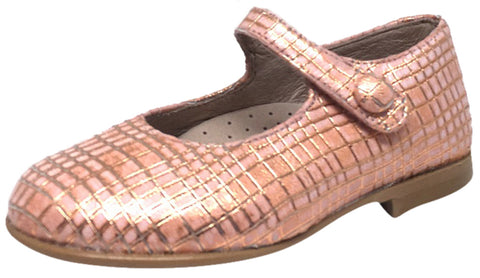 Hoo Shoes Hoova's Rose Gold Criss Cross Pattern Hook and Loop Button Mary Jane Flat Shoes