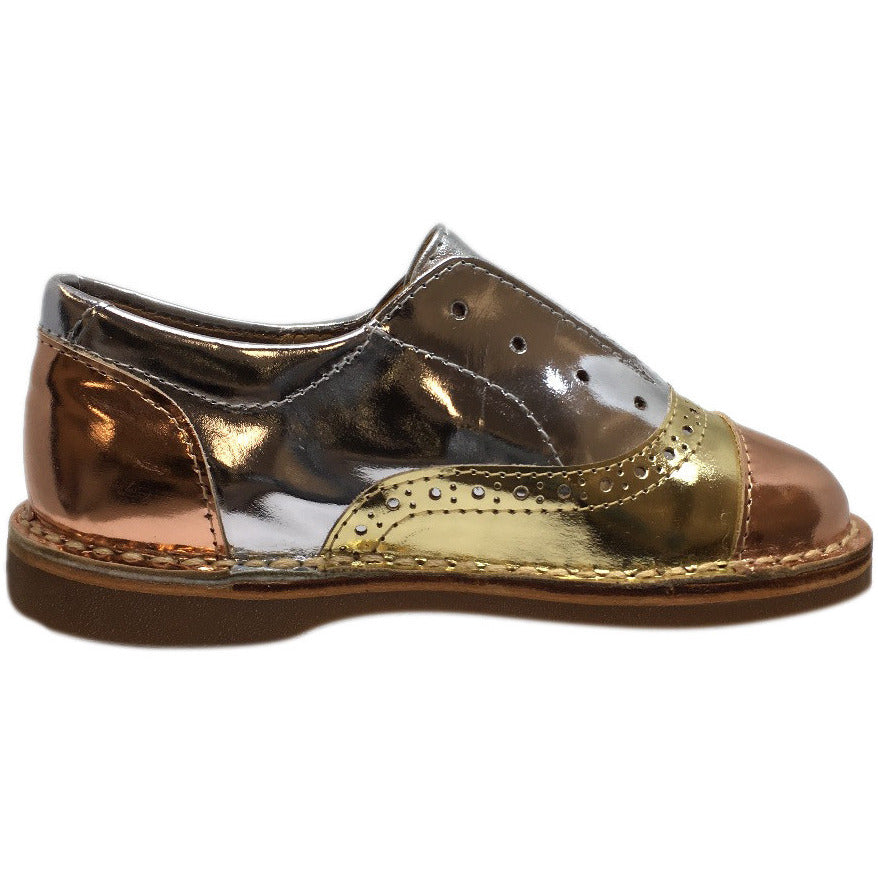 Papanatas by Eli Girl's Silver and Gold Metallic Slip On Oxford Loafer Shoes - Just Shoes for Kids  - 5