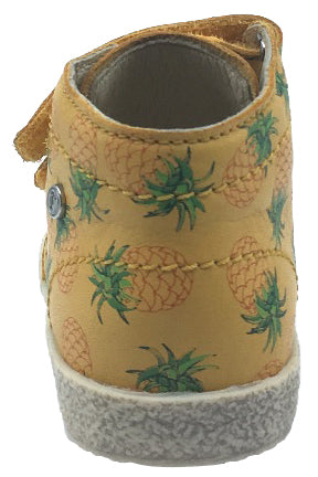 Naturino Falcotto Boy's & Girl's Mustard Yellow Pineapple Printed Leather Double Strap High Top Sneaker Shoe