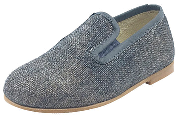Luccini Grey Linen with Matching Leather Trim Smoking Loafer
