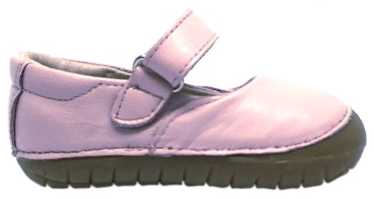 Old Soles Girl's 4001 Pave Jane Powder Pink Leather Hook and Loop Strap Mary Jane Shoe
