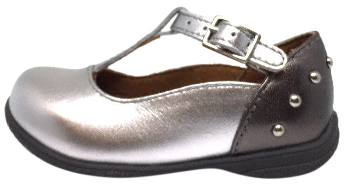 Umi Silver Patent Leather T-Strap Studded Mary Jane Flats