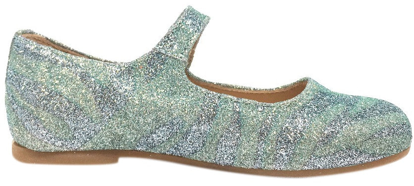 Manuela de Juan Mimi Aqua Glitter Leather Snap Mary Jane Flat Shoe