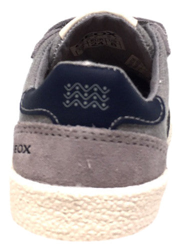 Geox Respira Boy's Suede and Canvas Double Hook and Loop Skater Sneaker Shoes inches, Grey/Navy - Just Shoes for Kids  - 3