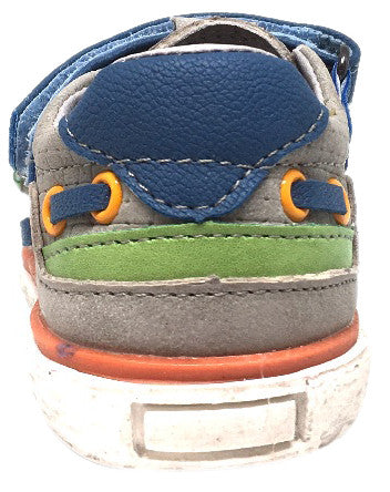 BKO Boy's Bandi II Grey and Blue Canvas Double Hook and Loop Strap Partially Open Sneaker Shoe