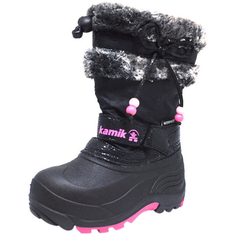 Kamik Plume Kid's Faux Fur Lined Waterproof Snow Protection Warm Winter Snow Boots inches - Just Shoes for Kids  - 1