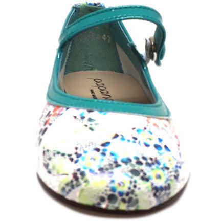Papanatas by Eli Girl's Grey Teal Metallic Floral Print Mary Janes Button Flats - Just Shoes for Kids  - 3